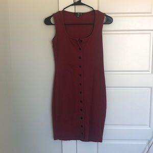 MissGuided burgundy button up mini dress